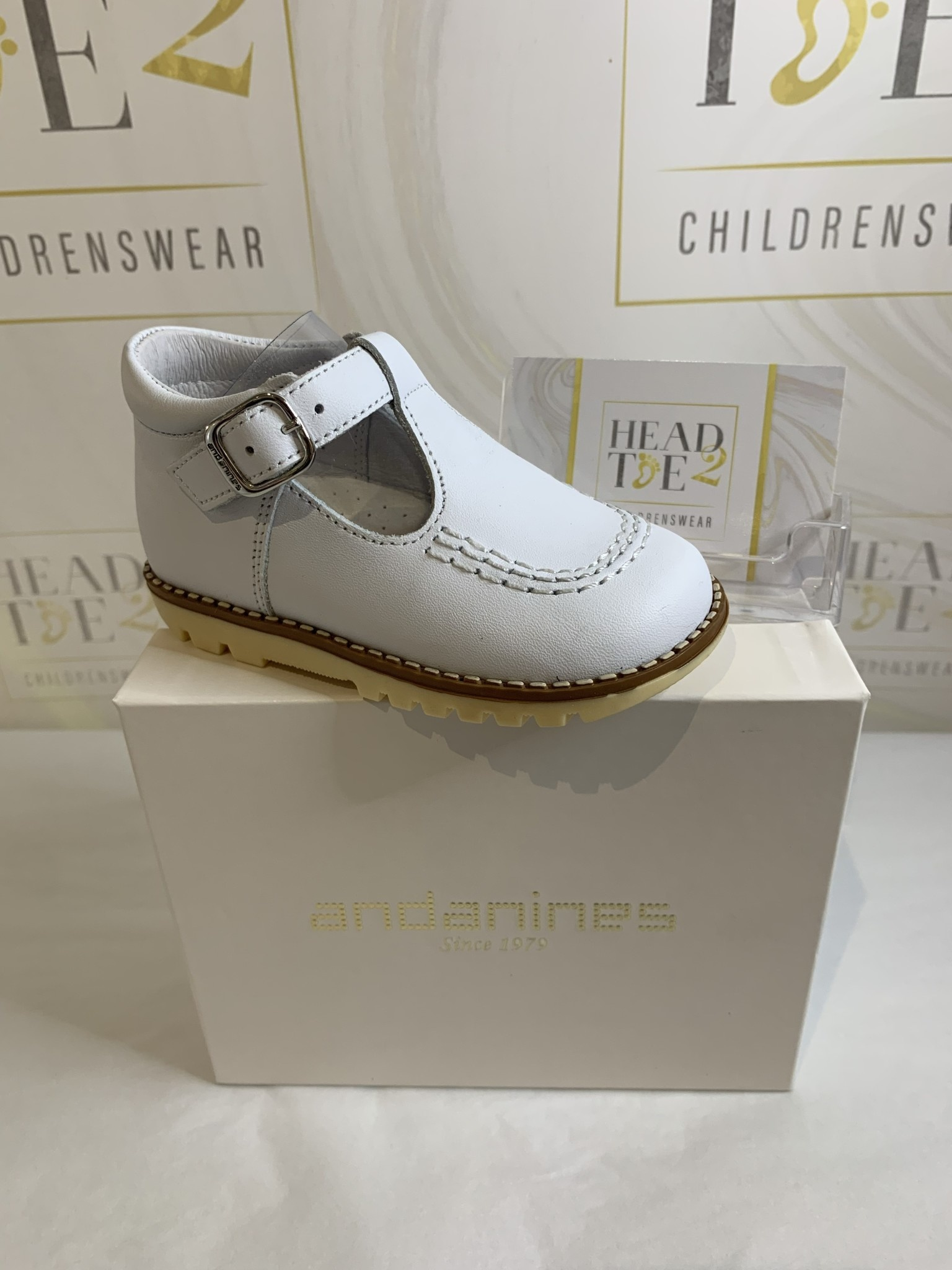 Andanines Andanines Boys White T-bar Shoes 191865