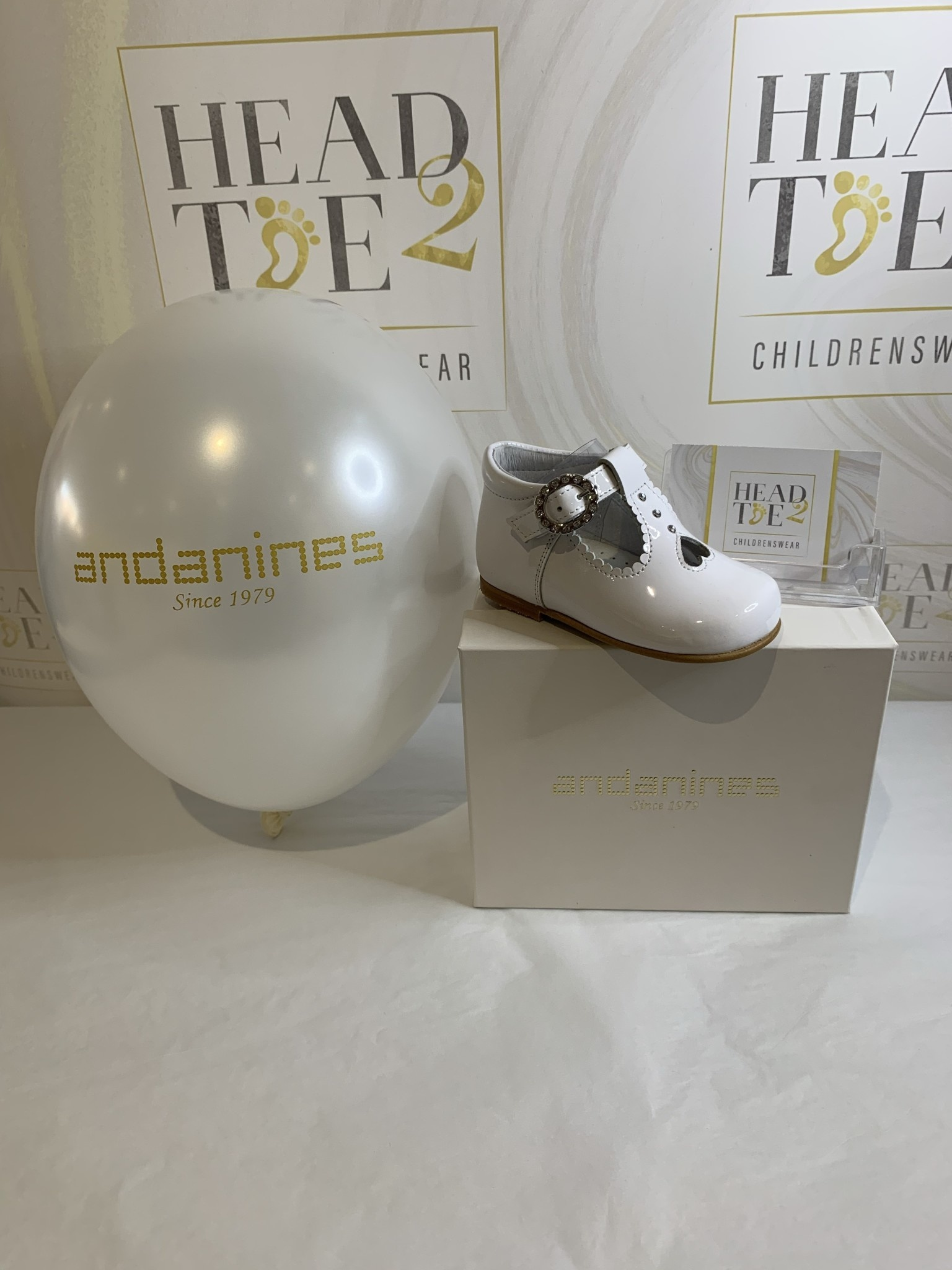 Andanines ANDANINES Girls Diamante Buckle T-Bar Shoe in White Patent 201835