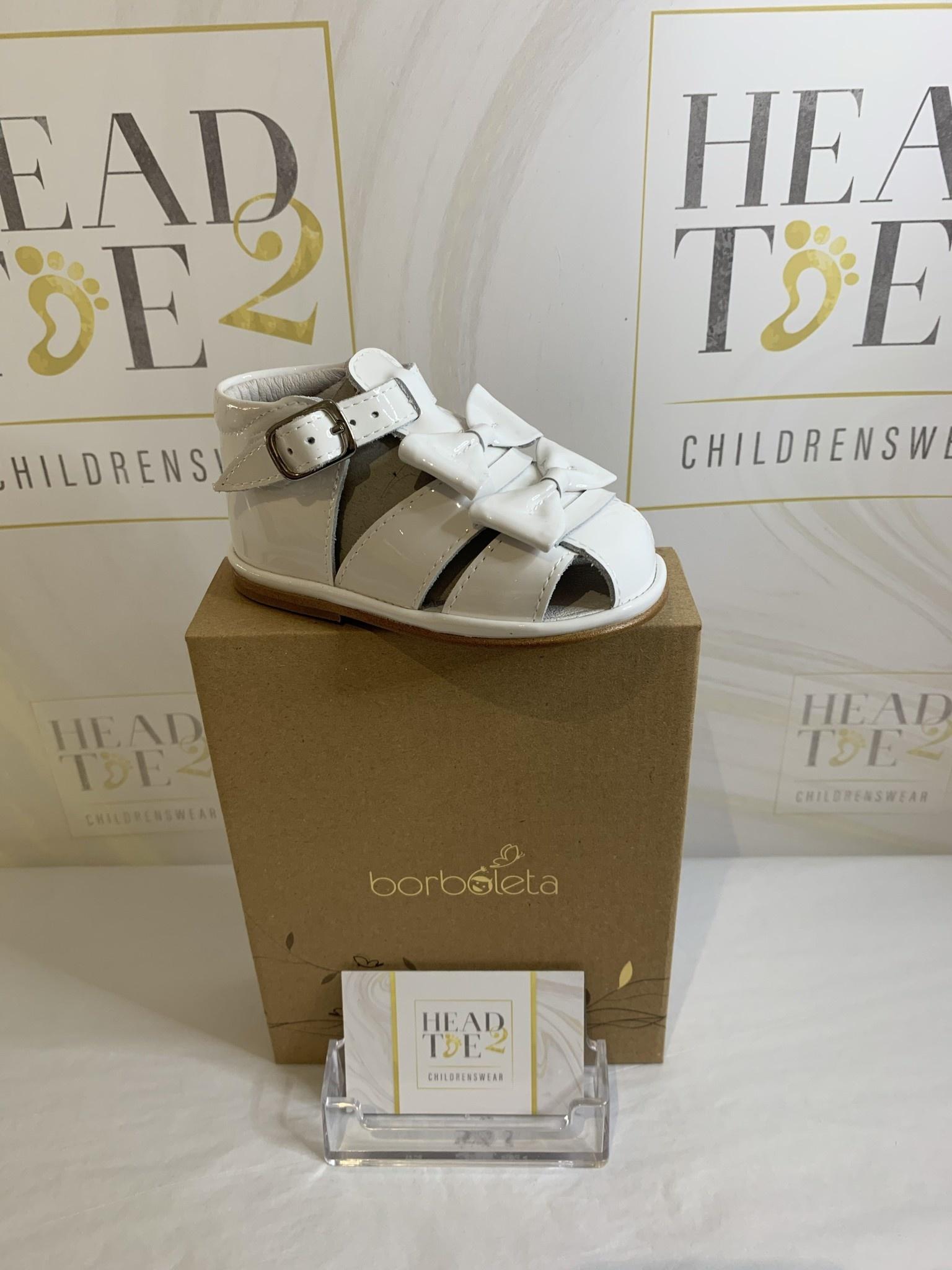 Borboleta Borboleta Dina Girls Leather/Patent Full Toe Sandal with Twin Bows 3201