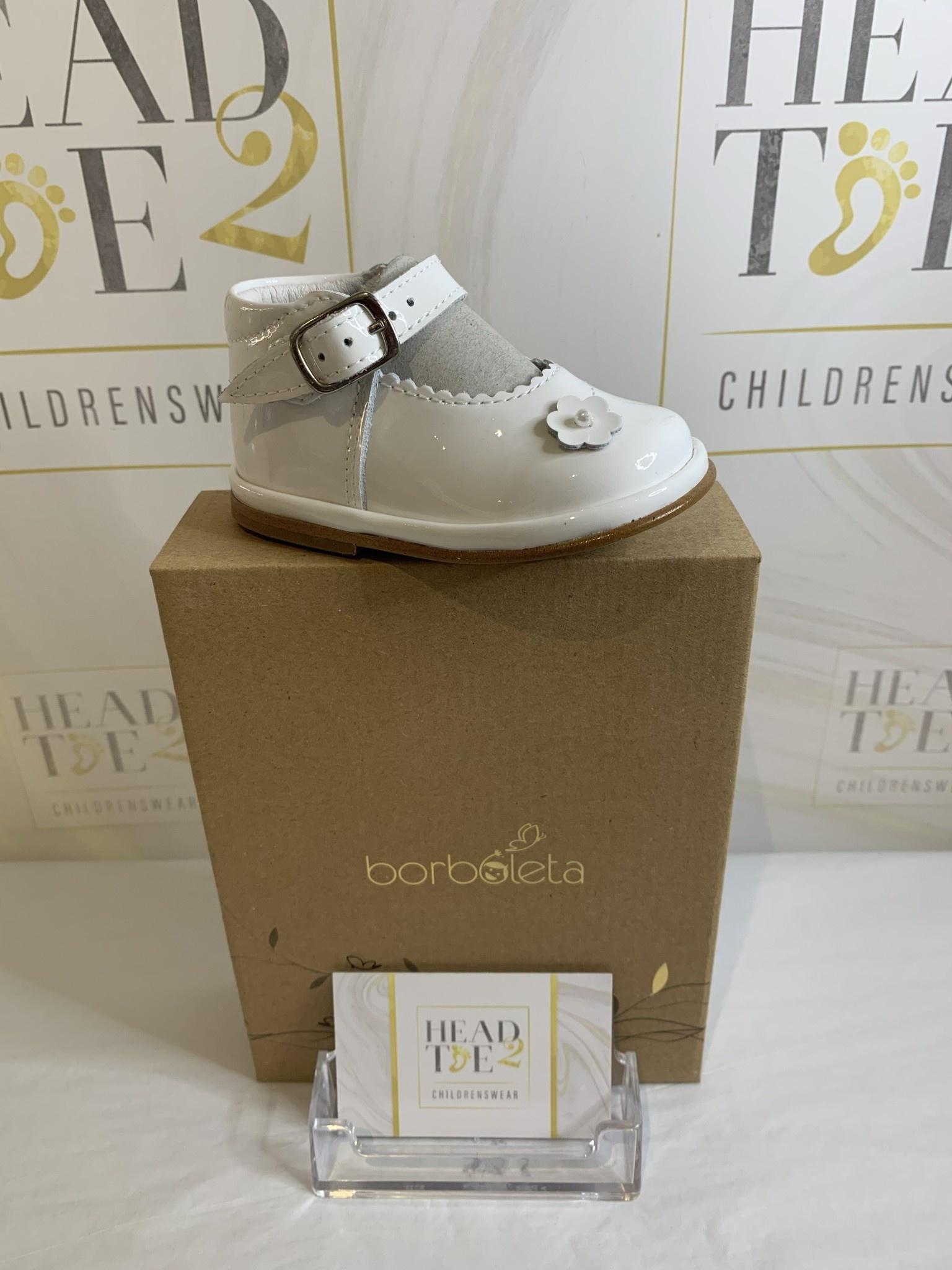 Borboleta Borboleta Sarah Girls White Patent Bar Shoes 1150