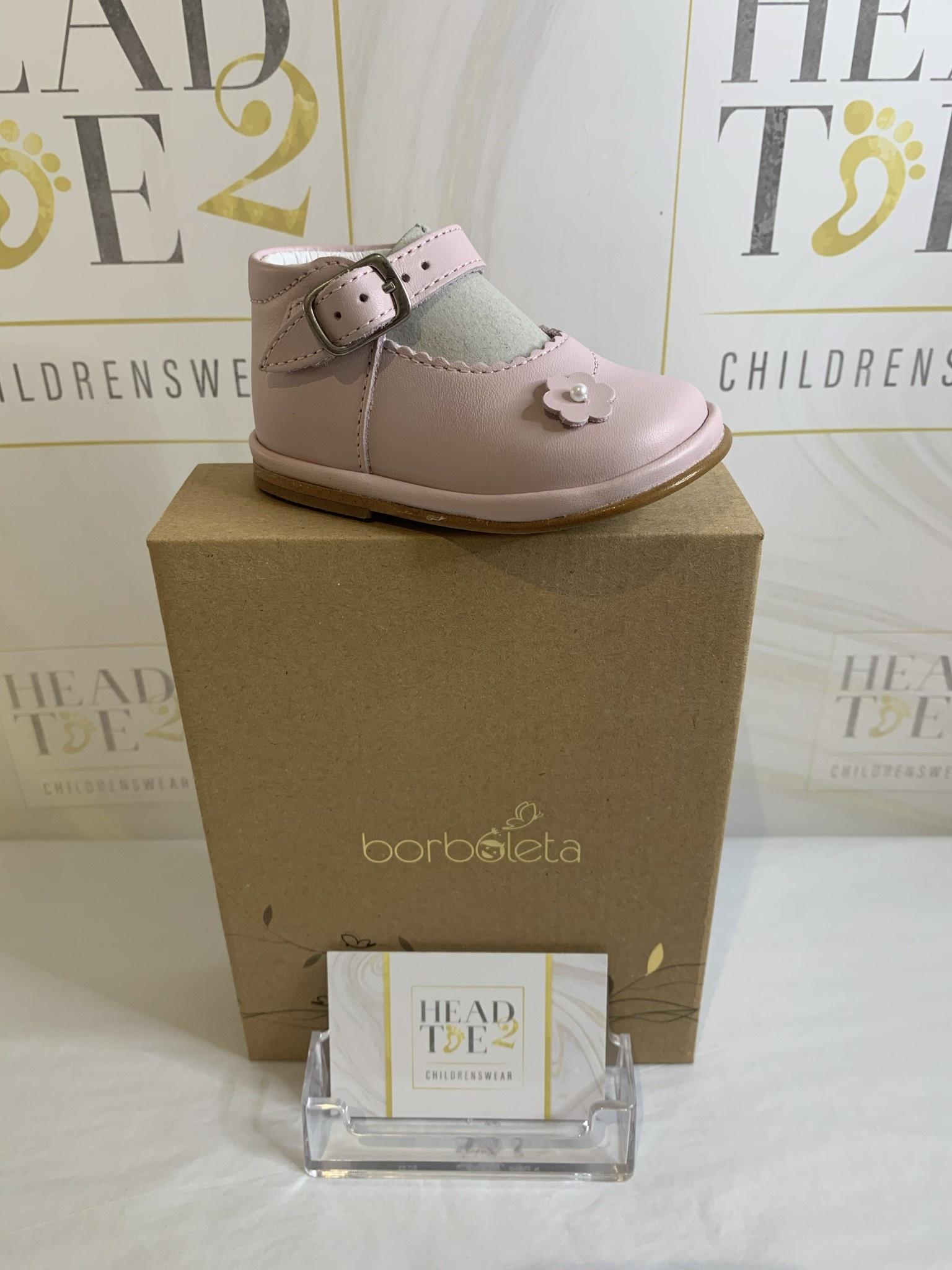 Borboleta Borboleta Sarah Girls Pink Leather Bar Shoes 1150