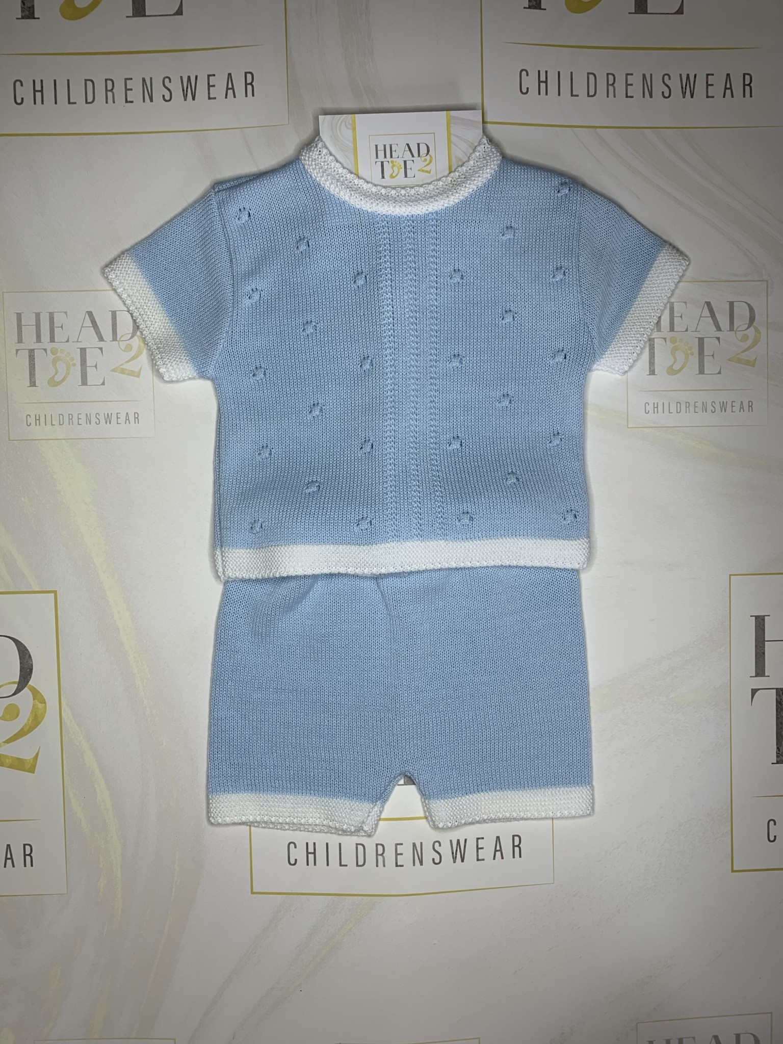 Boys acrylic cotton look knitted top and short set with raised stitch