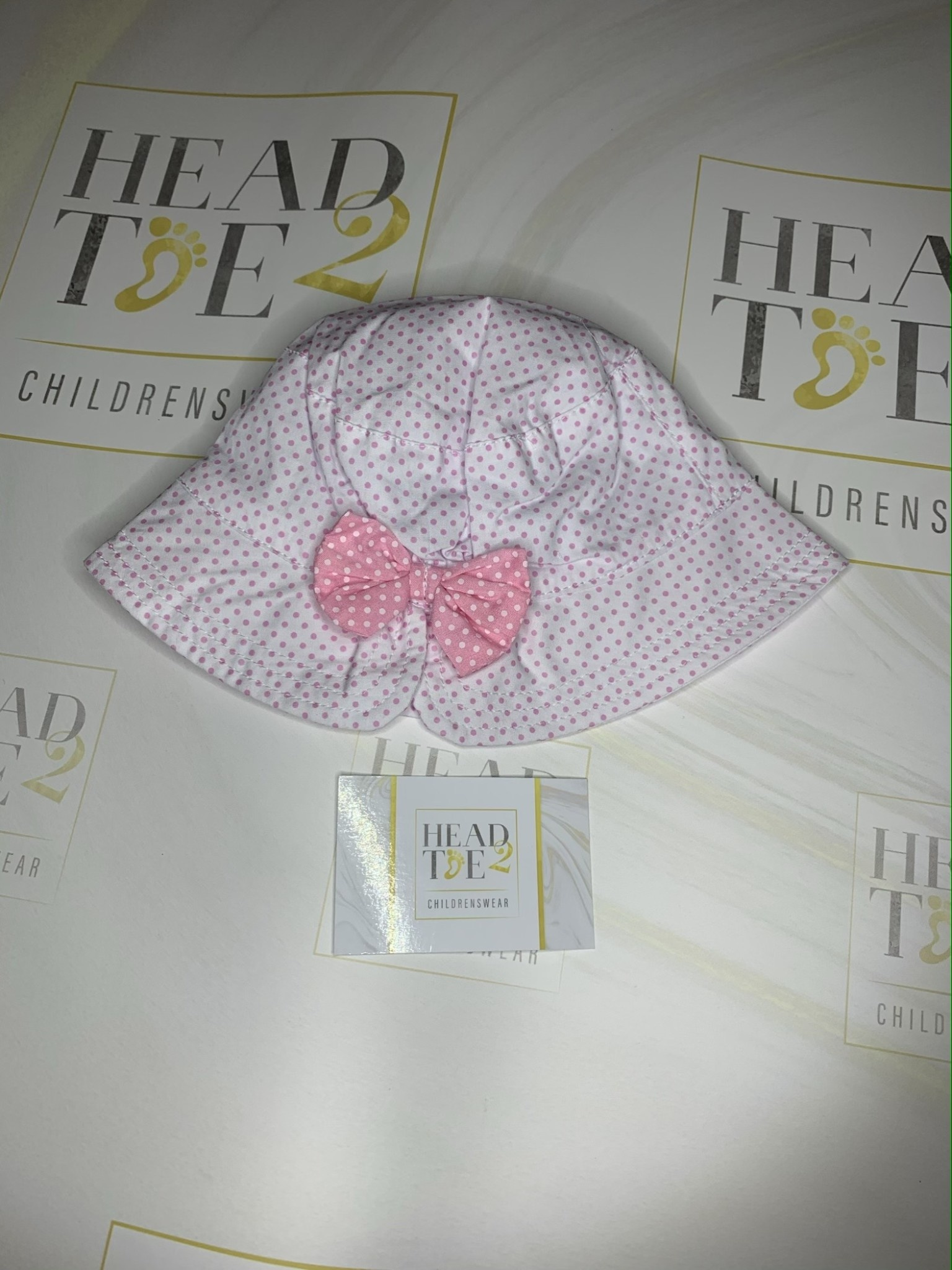girls summer hat polka dot with pink bow detail