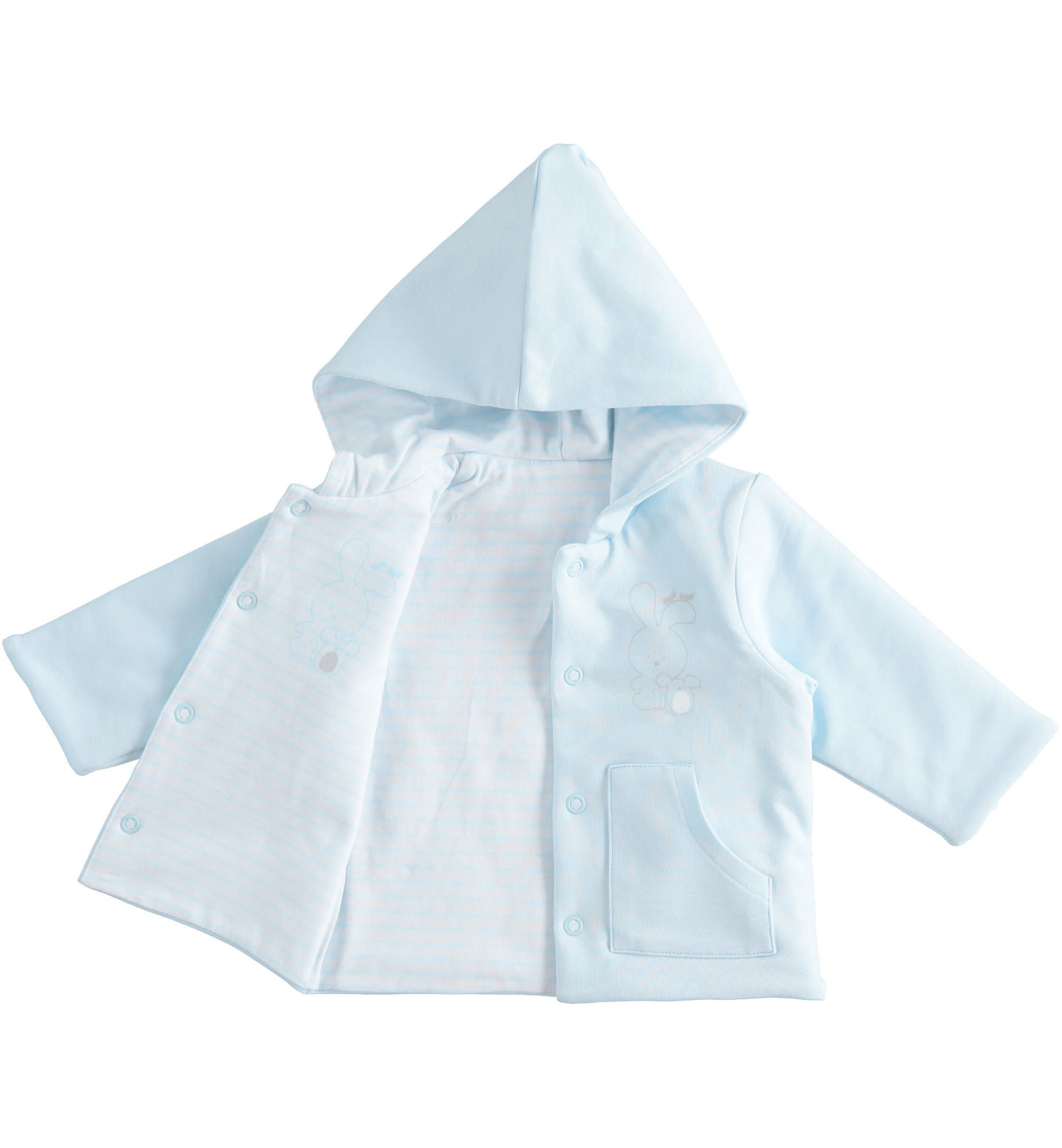 iDo iDO SS20 Boys Baby Blue and White Reversible Bunny Jacket J047