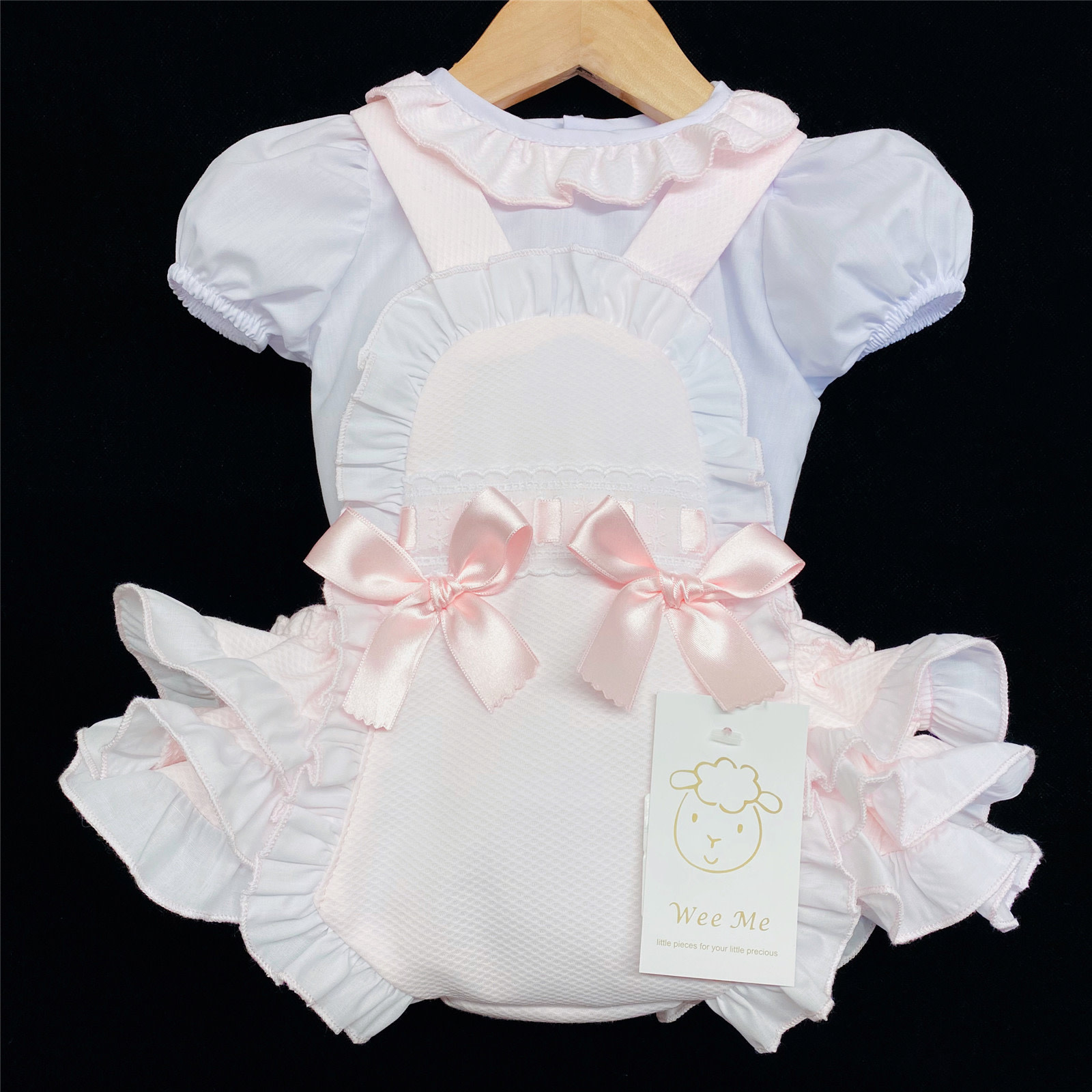 Wee Me Girl Pink Waffle Frilly Back Romper Set MYD107