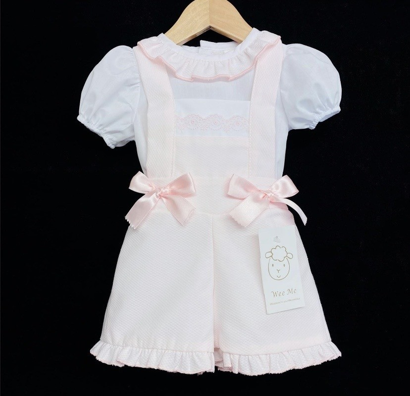 Wee Me Wee Me Girl pink waffle dungaree with frill shirt MYD105