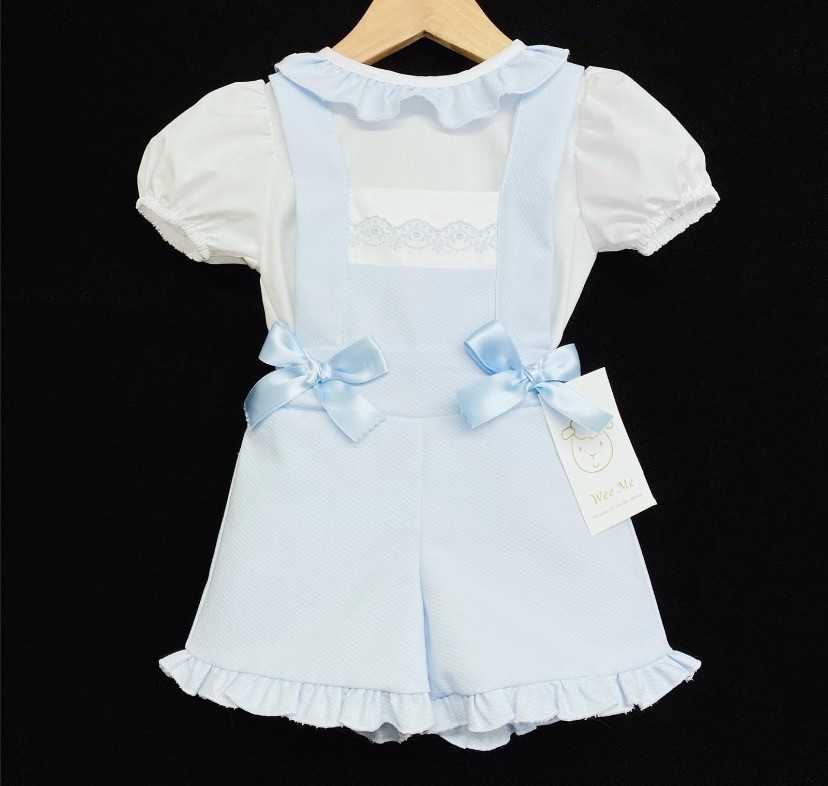 Wee Me wee me girl blue waffle dungaree with frill shirt MYD105