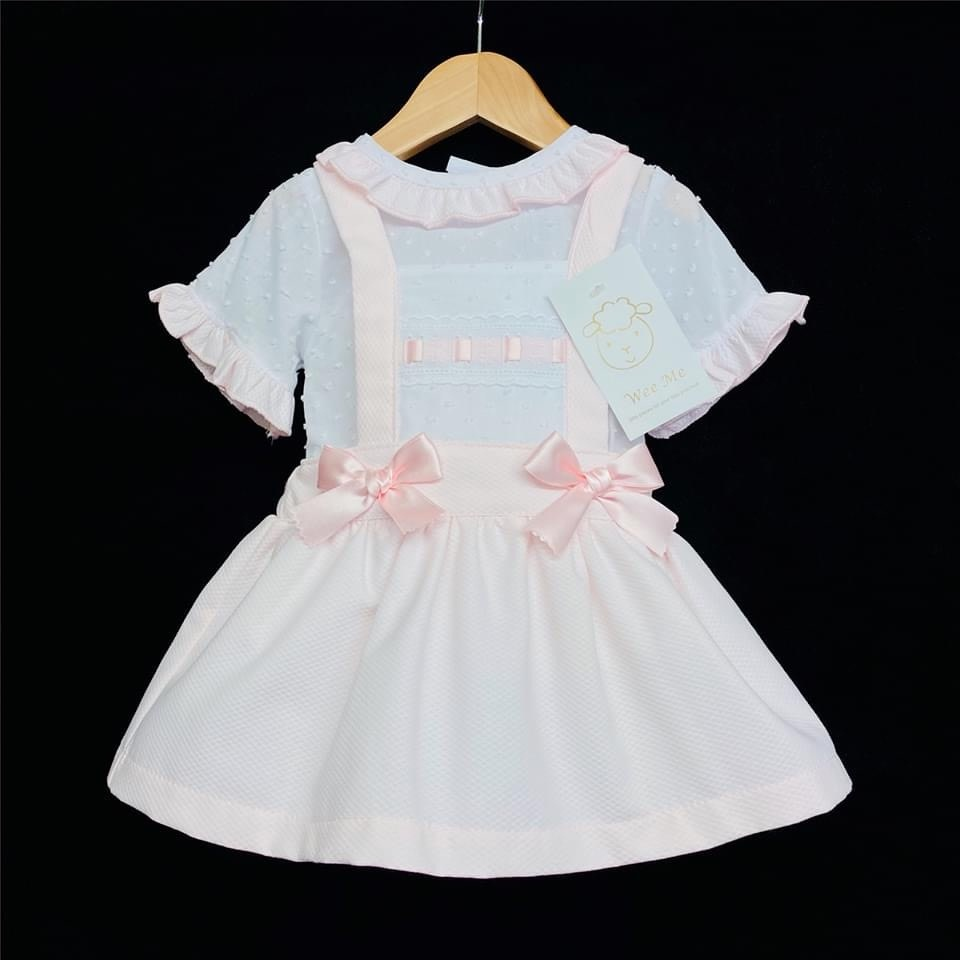 Wee Me wee me pink girl waffle pinafore brace with frill shirt set A100