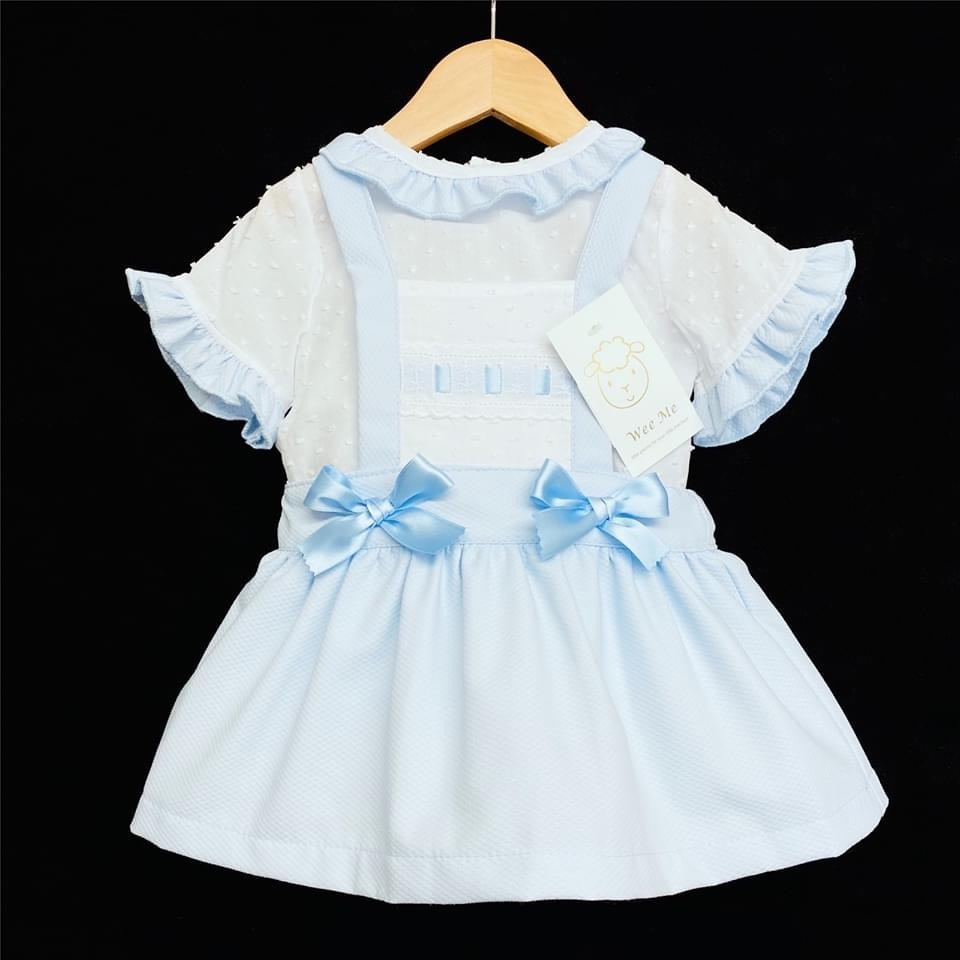 Wee Me wee me blue girl waffle pinafore brace with frill shirt set A100
