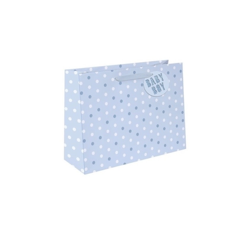 Baby Blue Boy Dot Large Gift  Bags