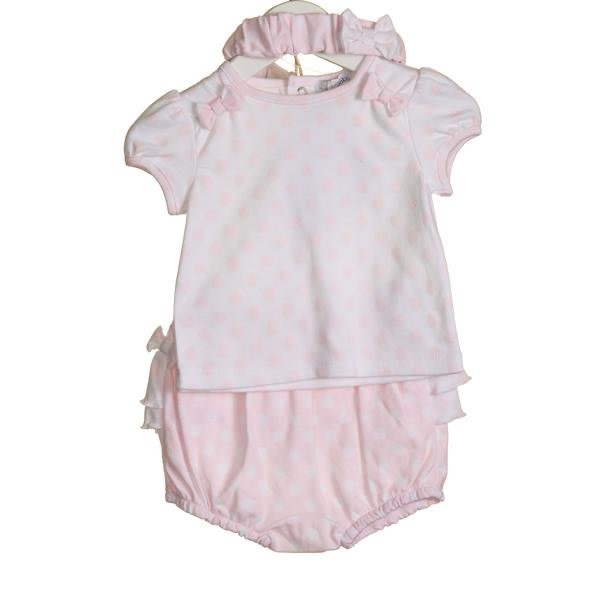 Blues Baby Bluesbaby SS20 Girls 3 Piece Bloomer Set Pink/White VV0063