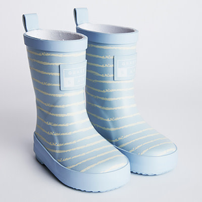 Grass And Air Grass and Air UV Colour Revealing Technology  Wellies in Baby Blue Stripe UK 3-7