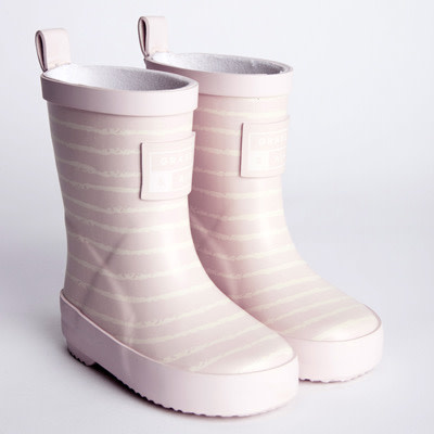 Grass And Air GRASS AND AIR UV COLOUR REVEALING TECHNOLOGY WELLIES IN BABY PINK STRIPE UK 8-10