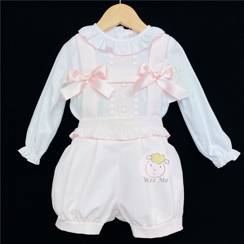 Wee Me AW20 Spanish Pink Brace Shorts set with long sleeve shirt MYD109