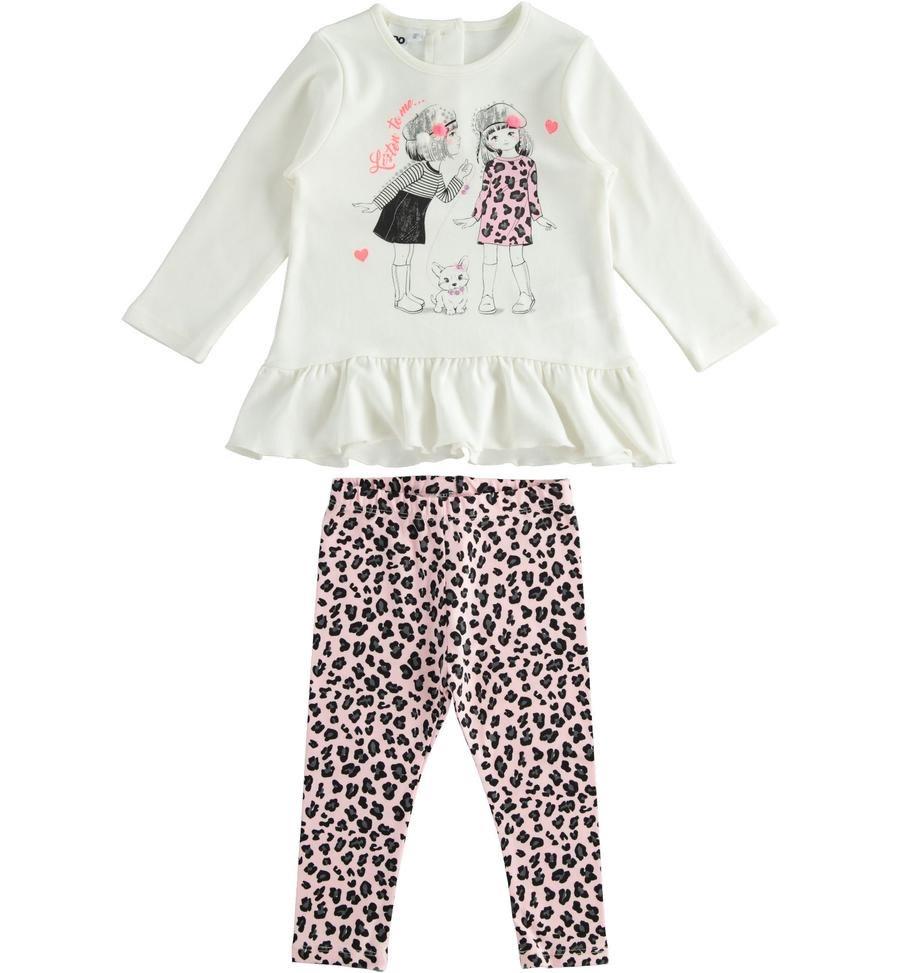 iDo iDO Girls Pink & Ivory Leopard Print Legging Set