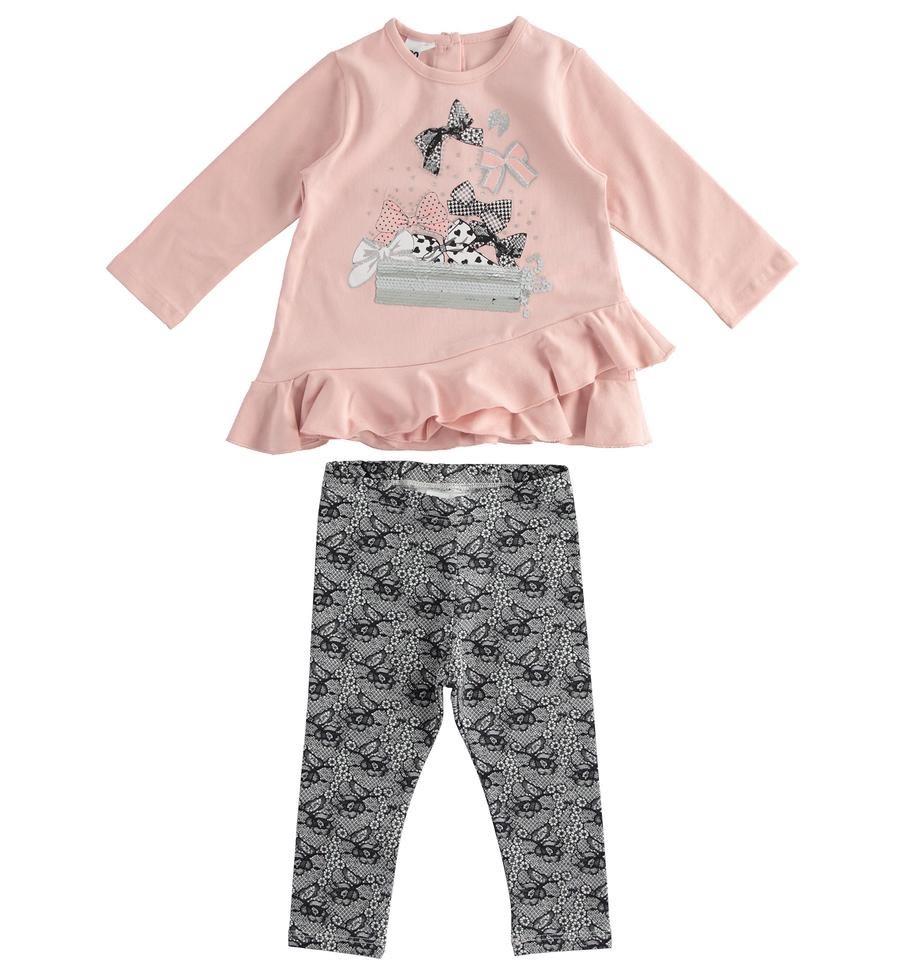iDo Girls iDO Pink Legging set with bow detail 1603