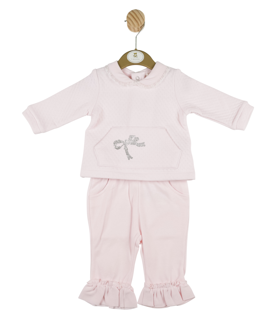 Mintini Baby Mintini top and trouser set bow diamonte detail MB4341