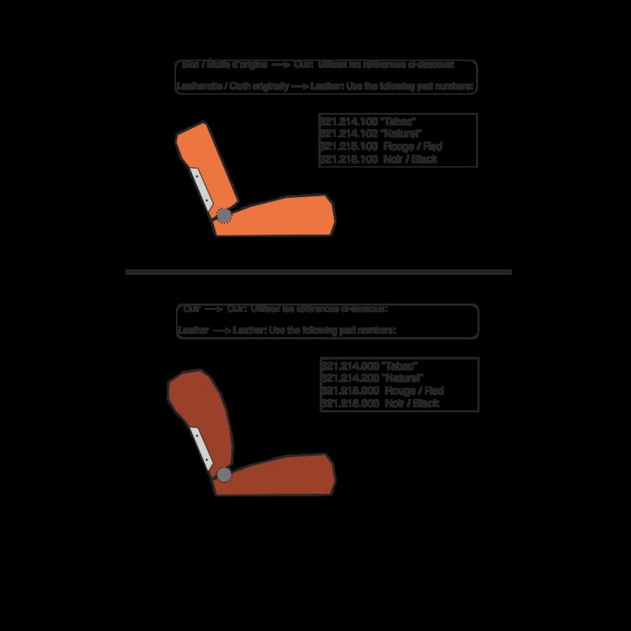 Garniture origine siège AV cuir marron (assise dossier panneau de fermeture pour dossier AV avec ressorts) Citroën ID/DS-1