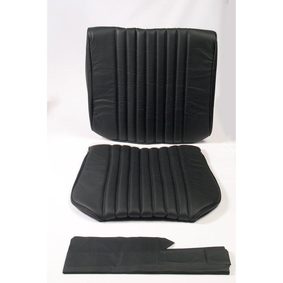 Original Sitzbezug Satz für Vordersitz leder-bezogen schwarz (Sitz Rückenlehne Abschlussfüllung für Feder-Rücken) Citroën ID/DS-1