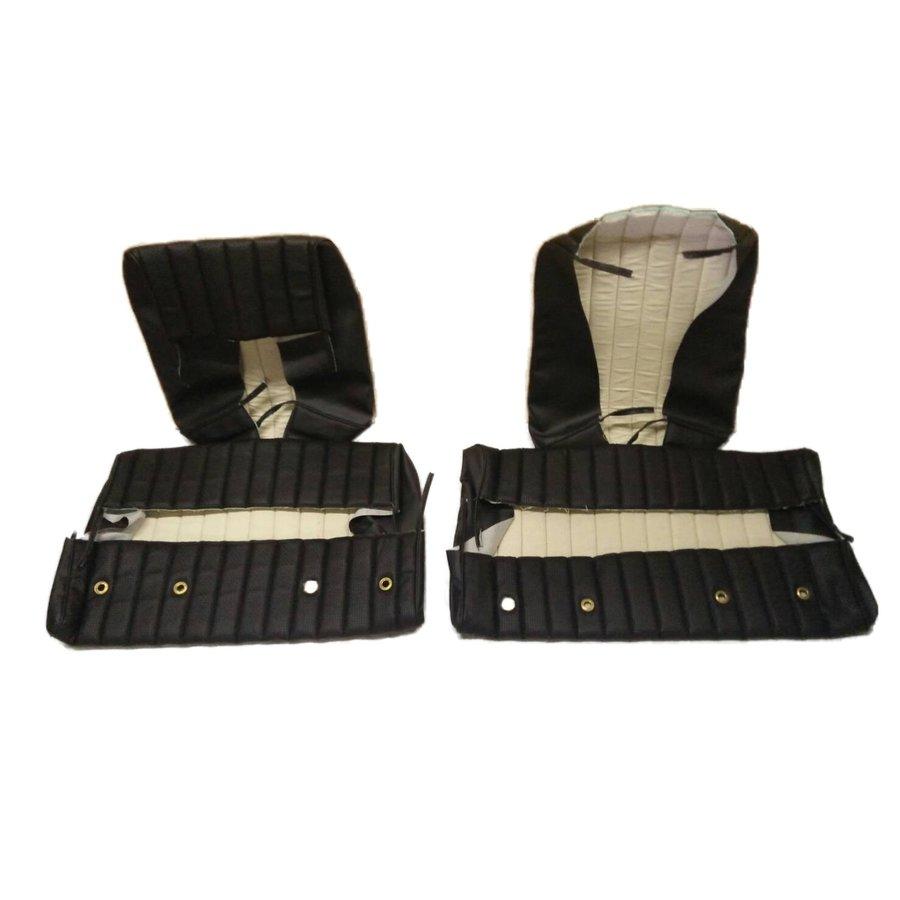 Garniture origine banquette AR BK (en 2 pieces) simili noir (assise 2 pièces dossier 2 pièces) Citroën ID/DS-6