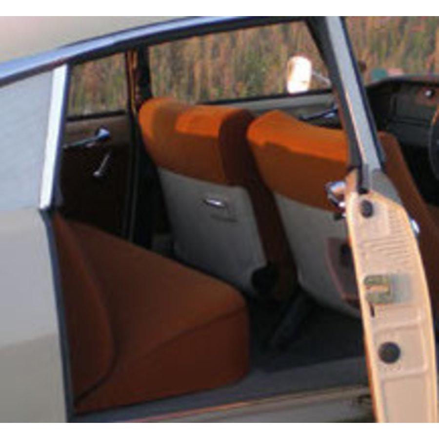 Garniture complète (2 sièges AV + 1 banquette AR) en étoffe caramel unie imprimé gauffre Citroën ID/DS-1
