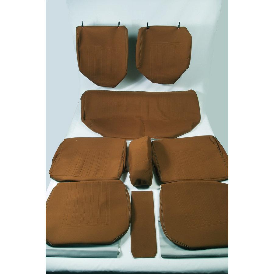 Garniture complète (2 sièges AV + 1 banquette AR) en étoffe caramel unie imprimé gauffre Citroën ID/DS-5