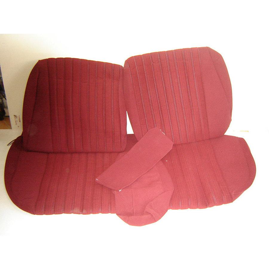 Garniture pour banquette AR PA en étoffe rouge (partie centrale en deux tons) pour assise 1 pièce dossier 4 pièces Citroën ID/DS-1