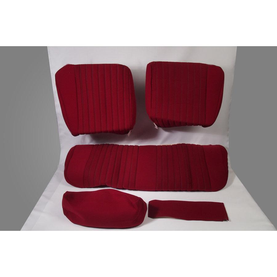 Garniture pour banquette AR PA en étoffe rouge (partie centrale en deux tons) pour assise 1 pièce dossier 4 pièces Citroën ID/DS-2