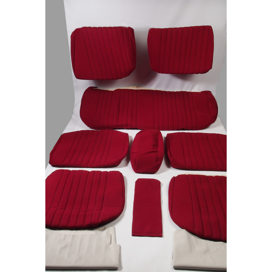 Cover set red fabric Pallas (WITHOUT WHITE  LEATHERETTE PIECE BEHIND FRONT SEAT) '69 Citroën ID / DS-1