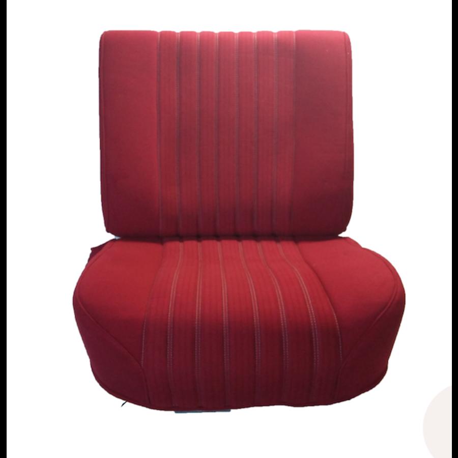 Vordersitzbezugsatz für Pallas (montiert auf neuem Rückenrahmen mit Schaumstoff vorbereitet für schmale Kopfstützen roter Stoff (Mittelteil in2 Tönen) für Sitz- und Rückenteil mit Abschlußverkleidung (weißliches Kunstleder) Citroën ID/DS-1