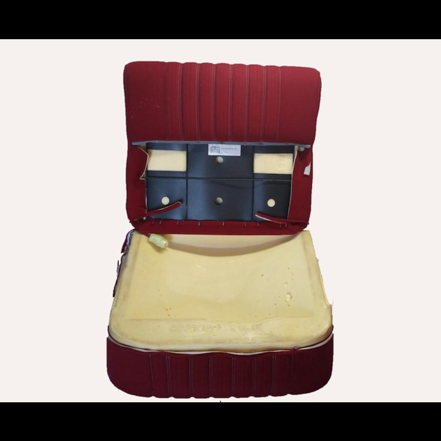 Vordersitzbezugsatz für Pallas (montiert auf neuem Rückenrahmen mit Schaumstoff vorbereitet für schmale Kopfstützen roter Stoff (Mittelteil in2 Tönen) für Sitz- und Rückenteil mit Abschlußverkleidung (weißliches Kunstleder) Citroën ID/DS-2