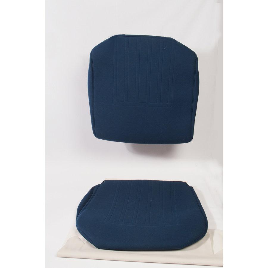 Garniture siège AV en étoffe bleu unie pour assise + dossier Panneau de fermeture en simili blanchâtre imprimé gauffre Citroën ID/DS-3