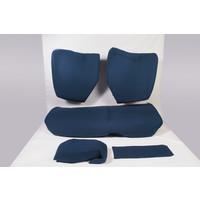 Garniture pour banquette AR en étoffe bleu unie pour assise 1 pièce dossier 4 pièces imprimé gauffre Citroën ID/DS