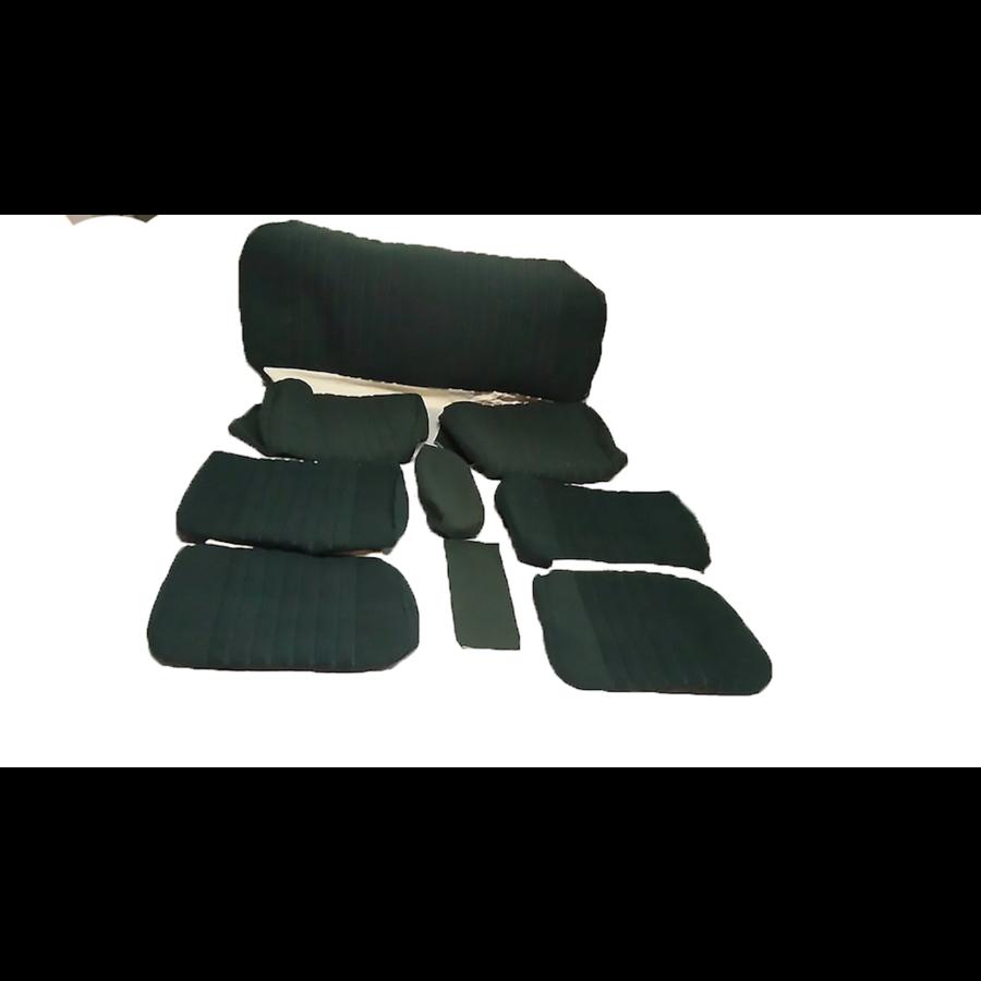 Garniture complète (2 sièges AV + 1 banquette AR) en étoffe vert (partie centrale en deux tons) Citroën ID/DS-1