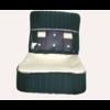 ID/DS Vordersitzbezugsatz für Pallas (montiert auf neuem Rückenrahmen mit Schaumstoff vorbereitet für schmale Kopfstützen grüner Stoff (Mittelteil in2 Tönen) für Sitz- und Rückenteil mit Abschlußverkleidung (weißliches Kunstleder) Citroën ID/DS