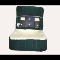 thumb-Vordersitzbezugsatz für Pallas (montiert auf neuem Rückenrahmen mit Schaumstoff vorbereitet für schmale Kopfstützen grüner Stoff (Mittelteil in2 Tönen) für Sitz- und Rückenteil mit Abschlußverkleidung (weißliches Kunstleder) Citroën ID/DS-1