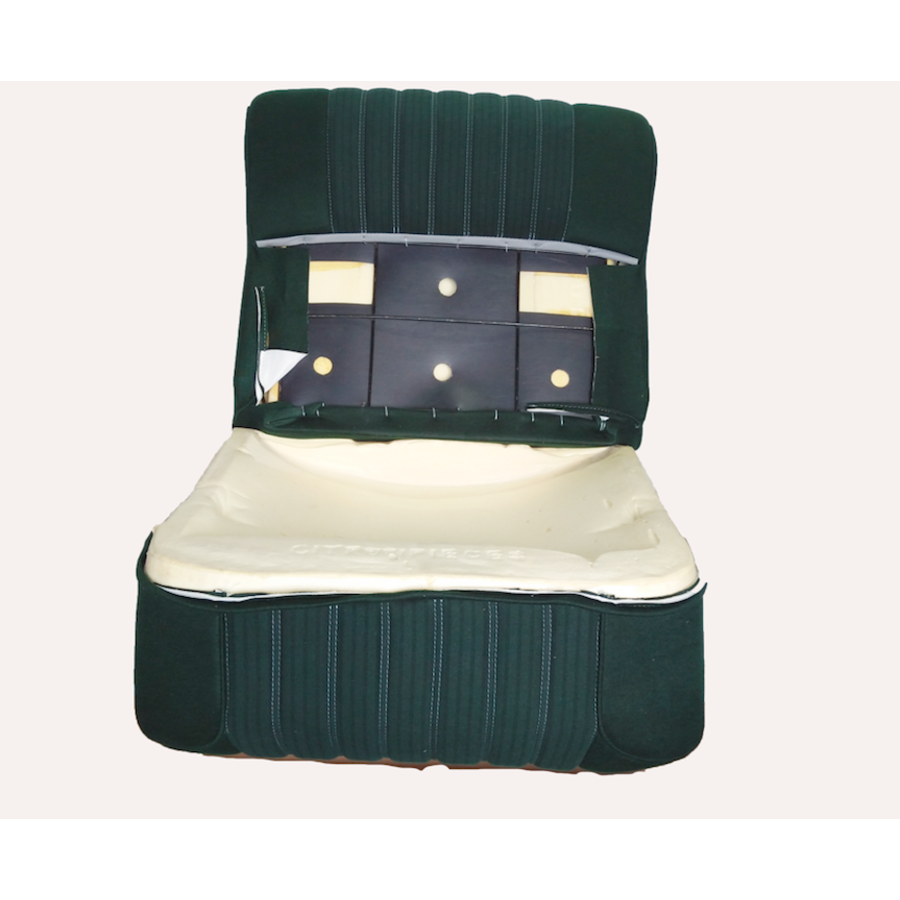Vordersitzbezugsatz für Pallas (montiert auf neuem Rückenrahmen mit Schaumstoff vorbereitet für schmale Kopfstützen grüner Stoff (Mittelteil in2 Tönen) für Sitz- und Rückenteil mit Abschlußverkleidung (weißliches Kunstleder) Citroën ID/DS-1