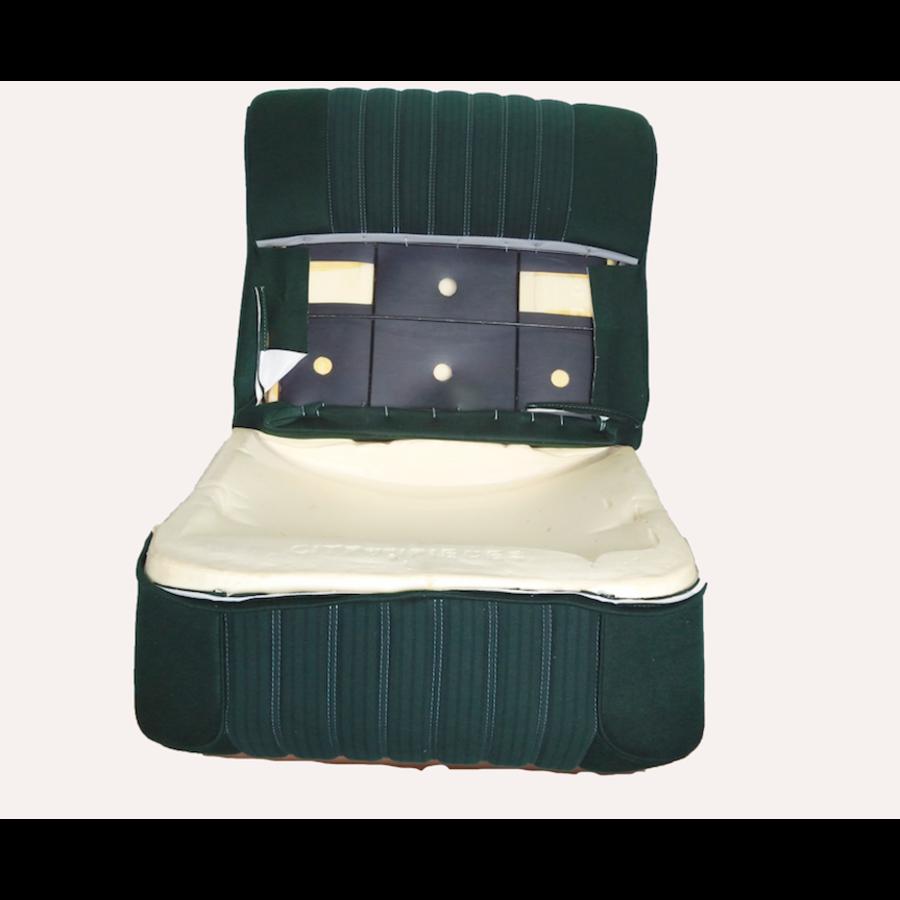 Vordersitzbezugsatz für Pallas (montiert auf neuem Rückenrahmen mit Schaumstoff vorbereitet für schmale Kopfstützen grüner Stoff (Mittelteil in2 Tönen) für Sitz- und Rückenteil mit Abschlußverkleidung (weißliches Kunstleder) Citroën ID/DS-2