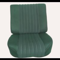 thumb-Vordersitzbezugsatz für Pallas (montiert auf neuem Rückenrahmen mit Schaumstoff vorbereitet für schmale Kopfstützen grüner Stoff (Mittelteil in2 Tönen) für Sitz- und Rückenteil mit Abschlußverkleidung (weißliches Kunstleder) Citroën ID/DS-3