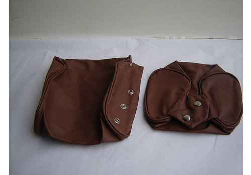 Head rest cover with brown leather trimming narrow model 2 pieces Citroën ID/DS