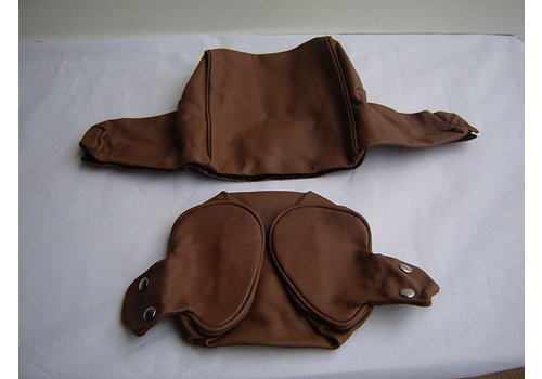 Head rest cover with brown leather trimming wide model 2 pieces Citroën ID/DS