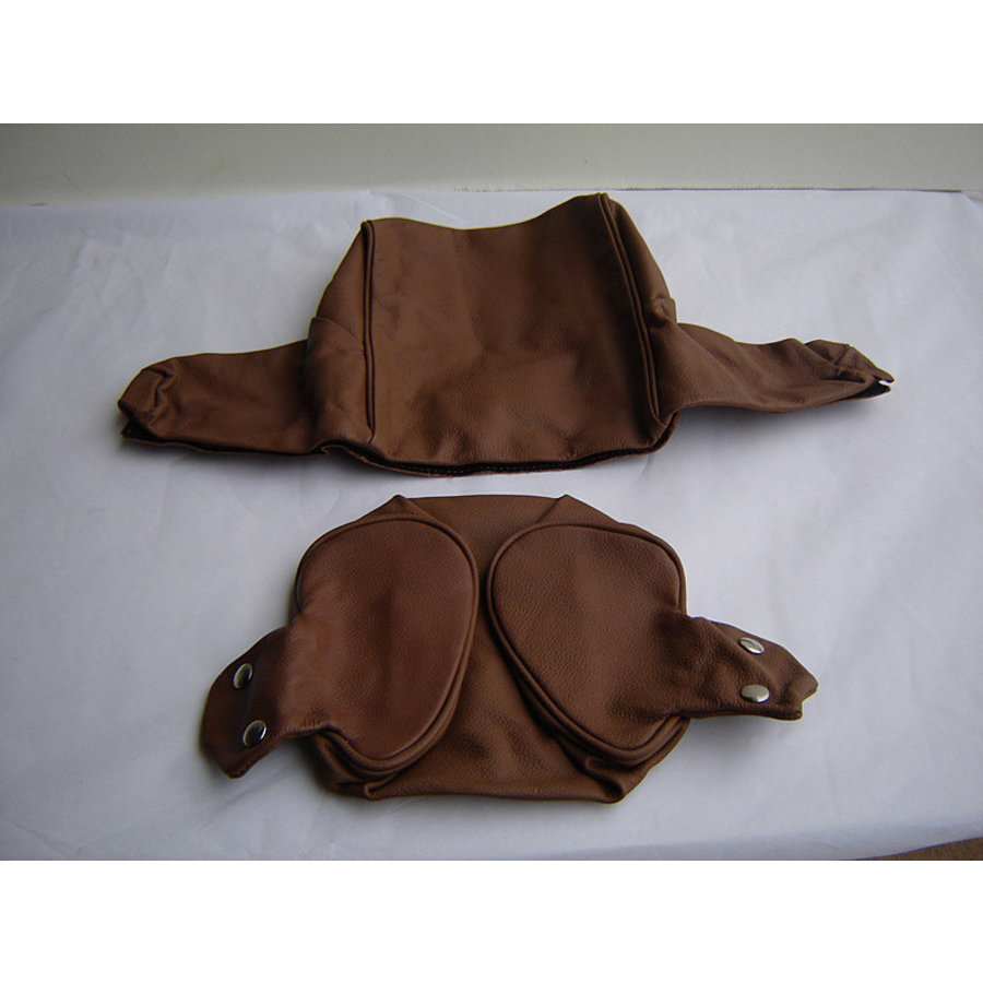 Head rest cover with brown leather trimming wide model 2 pieces Citroën ID/DS-2