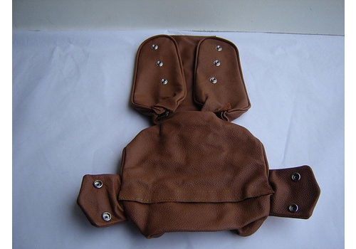 Head rest cover with light brown leather trimming narrow model 2 pieces Citroën ID/DS
