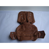 thumb-Head rest cover with light brown leather trimming narrow model 2 pieces Citroën ID/DS-2
