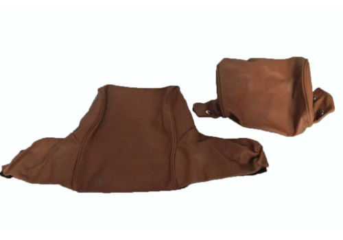 Head rest cover with light brown leather trimming wide model 2 pieces Citroën ID/DS