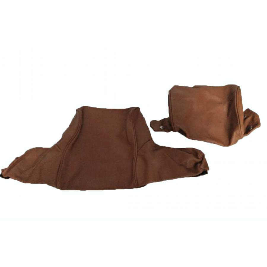 Head rest cover with light brown leather trimming wide model 2 pieces Citroën ID/DS-2
