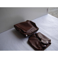 thumb-Head rest cover with brown leatherette trimming narrow model 2 pieces Citroën ID/DS-1