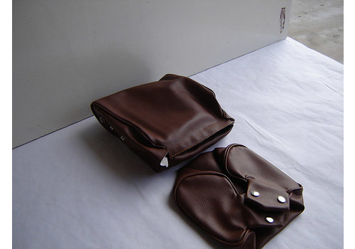Head rest cover with brown leatherette trimming narrow model 2 pieces Citroën ID/DS