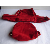 thumb-Head rest cover with bright red 60->67cloth trimming wide model 2 pieces Citroën ID/DS-1