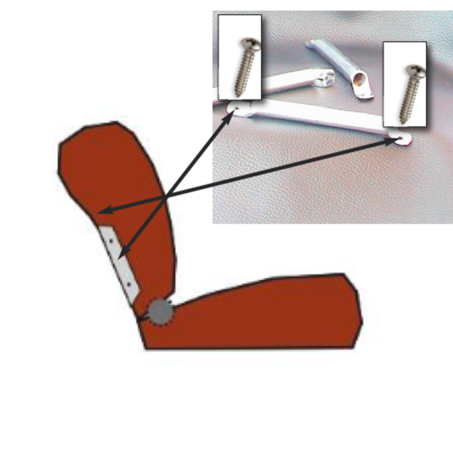 Side socket [2x] for insertion of wide head rest chromed metal Citroën ID/DS-1